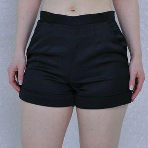 Black highwaisted satin shorts